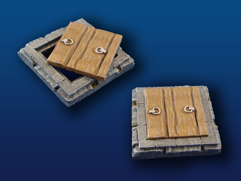 "2x2"" Floor Tile w/ Wooden Trap Door"