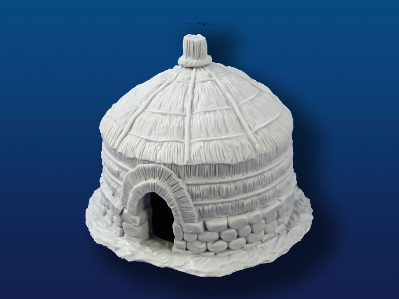 African Hut on Stone Base