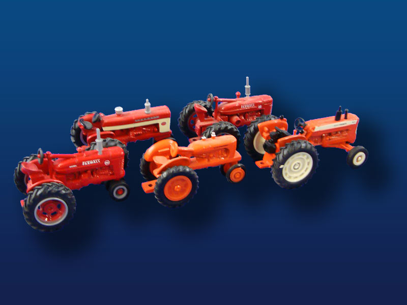 HO Scale Diecast Farm Tractors (5)