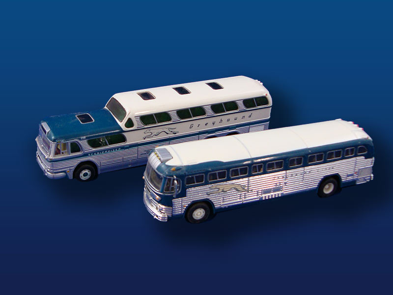 HO Scale Grey Hound Buses (2)